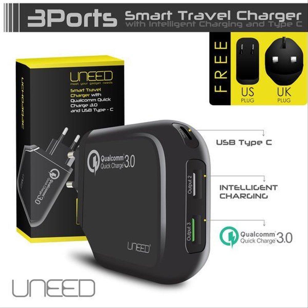 Adaptor UNEED Qualcomm Quick Charger 3.0+Type-C Hitam 21000029