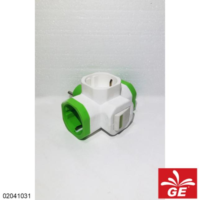 Steker Arde MEET M-813S 3 Lubang Dengan Saklar & Lampu Hijau