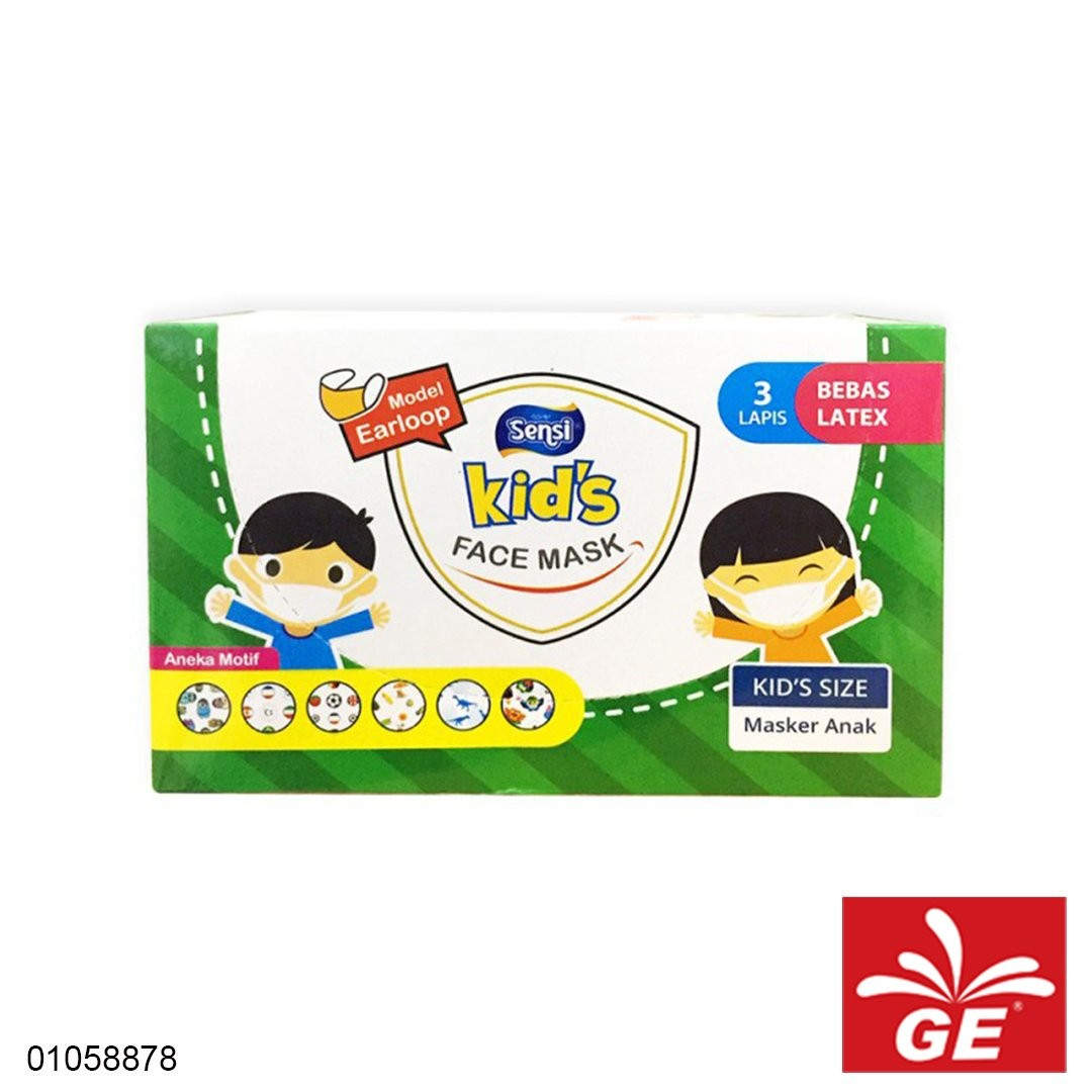 Masker Medis SENSI Kids Earloops Bebas Latex 3Ply 40pcs 01058878
