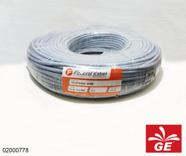 Kabel Telepon FEDERAL Telephone Wire 1x6C/0.6mm OFC 100m Abu-abu