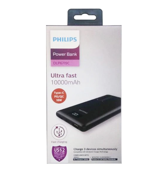 Powerbank PHILIPS DLP6719C Type-C PD/QC 18W 10.000mAh Hitam