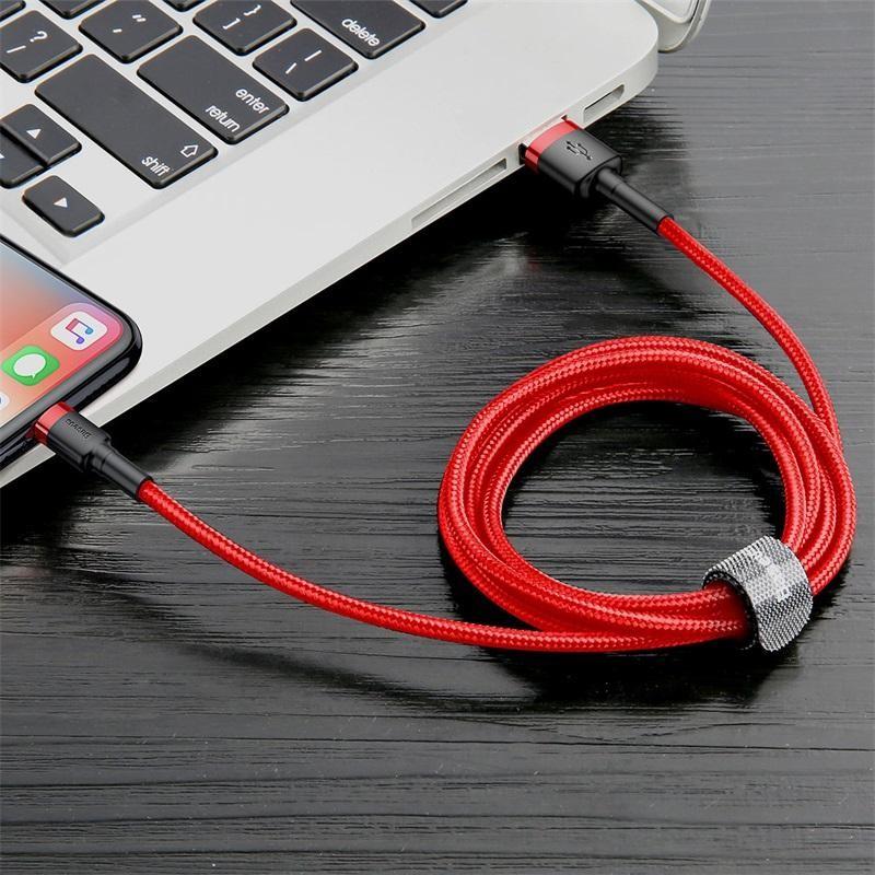 Kabel Data BASEUS Cafule Lightning 2.4A 1M Merah 40001313