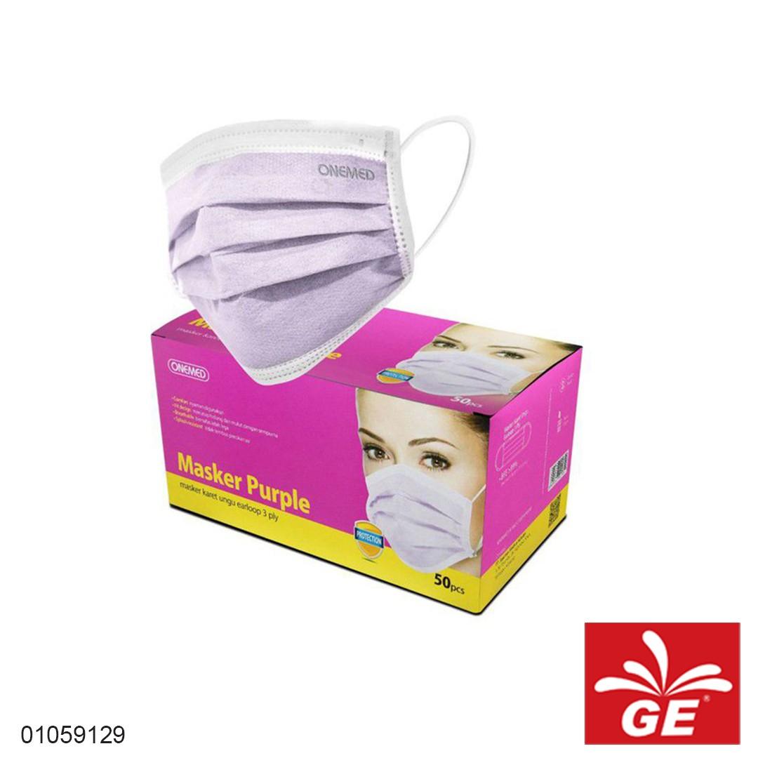 Masker Bedah Karet ONEMED Ungu 50pcs 01059129