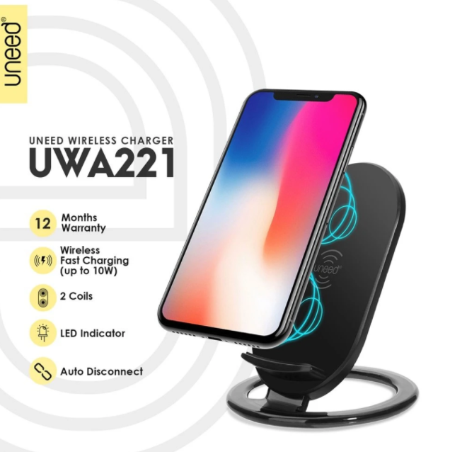 Charger UNEED UWA221 Wireless Fast Charge Hitam 40001147