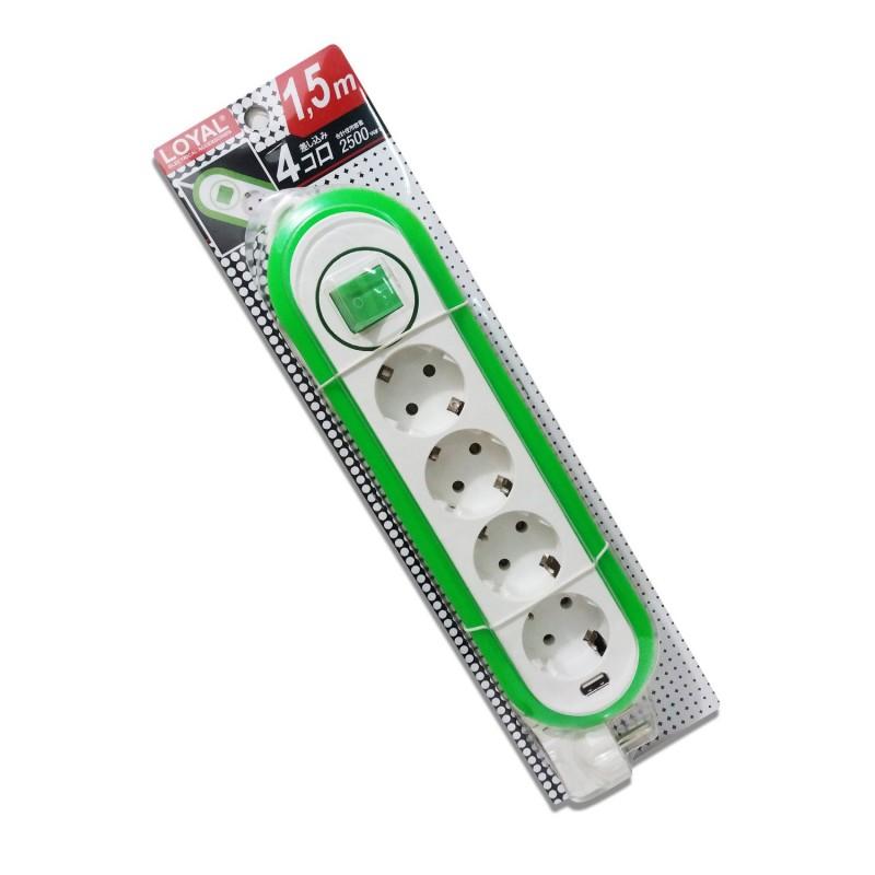 Stop Kontak LOYAL LY-264 Multicord 4 Lubang Dengan USB Hijau 1.5M