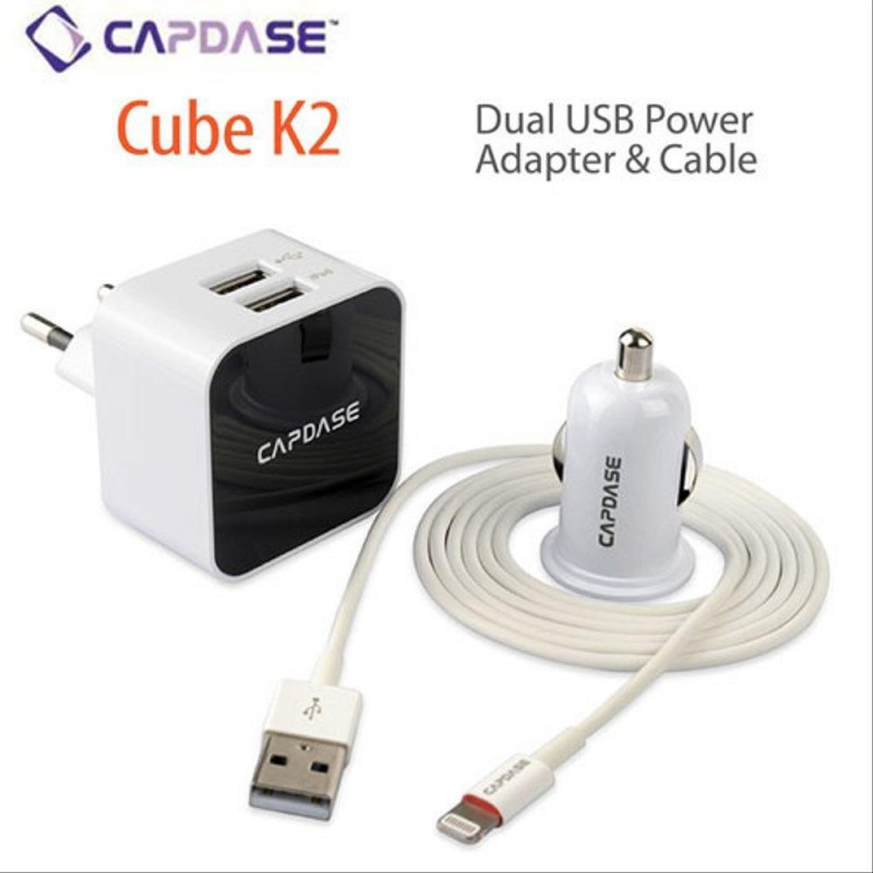 Adaptor+USB CAPDASE Power Kit Cube K2-B Lightning Putih 1.2M