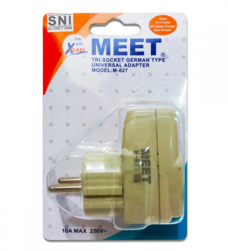 Steker Colokan Universal MEET M-827 Tanpa Saklar/M-826