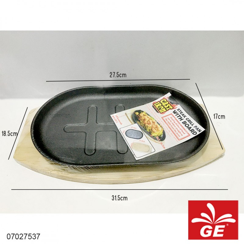 Fry Pan With Board CAST IRON 27.5 x 17 cm 07027537