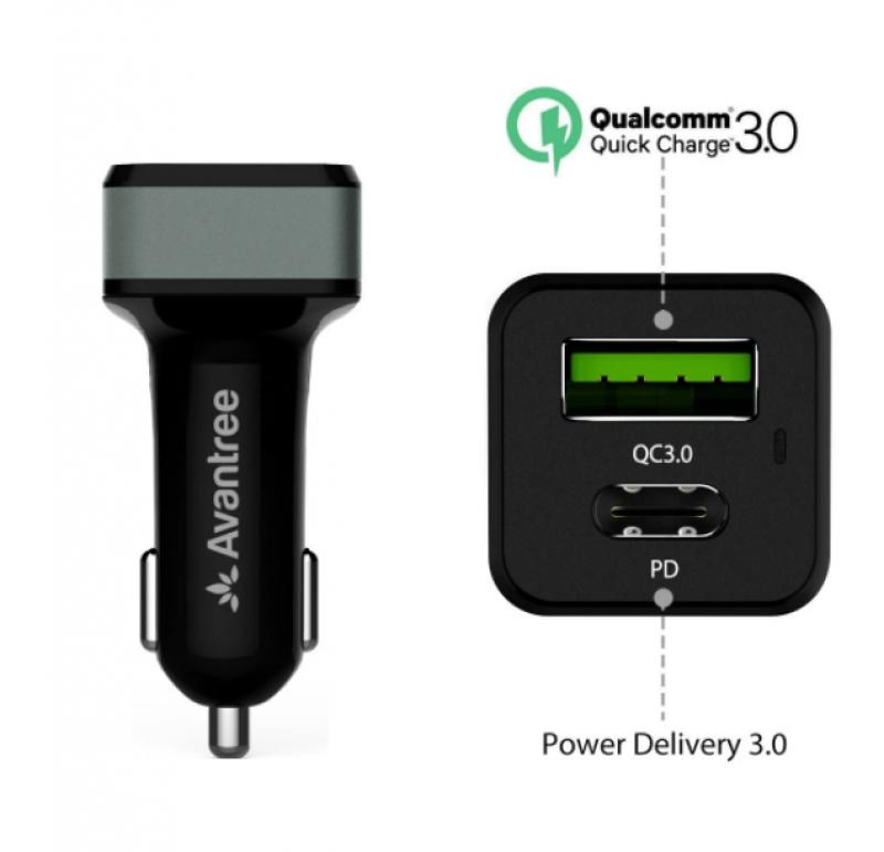 Car Charger AVANTREE TR410 42W QC3.0 & Type-C USB Hitam 05017373