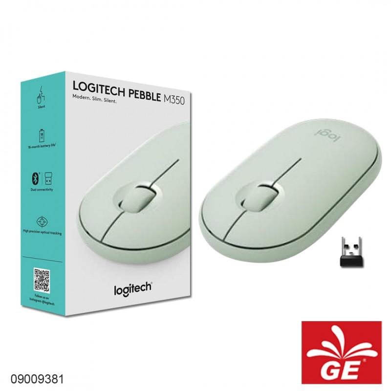 Mouse Wireless LOGITECH PEBBLE M350 Tanpa Suara Hijau 09009381