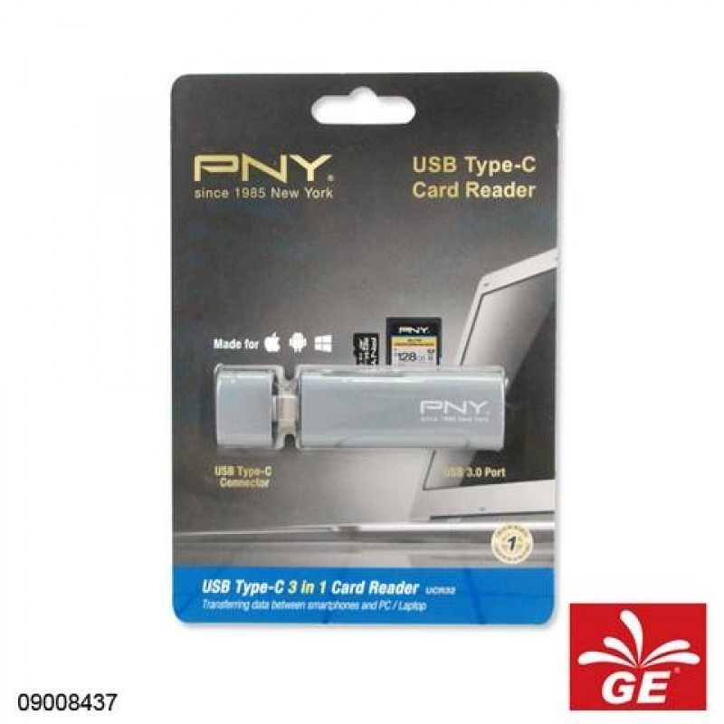 PNY CARD READER TYPE-C USB3.0 3 IN 1 09008437
