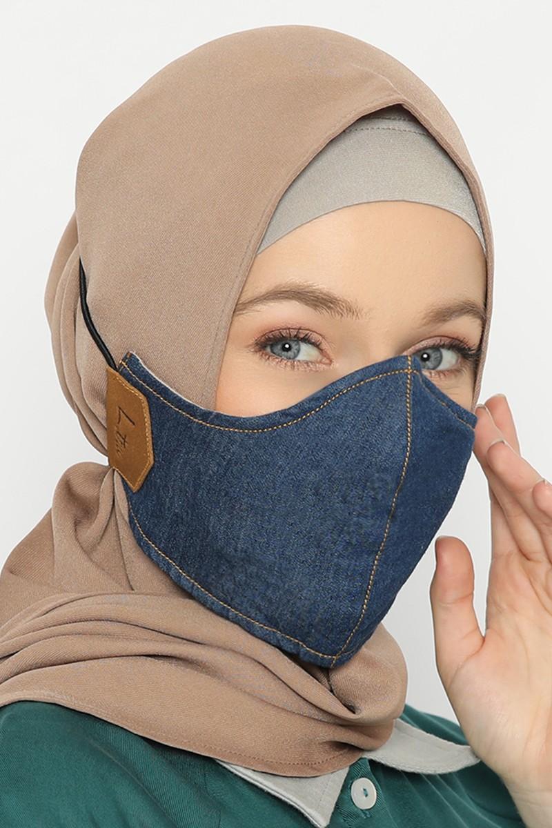 Comte Denim Face Mask Dark Blue