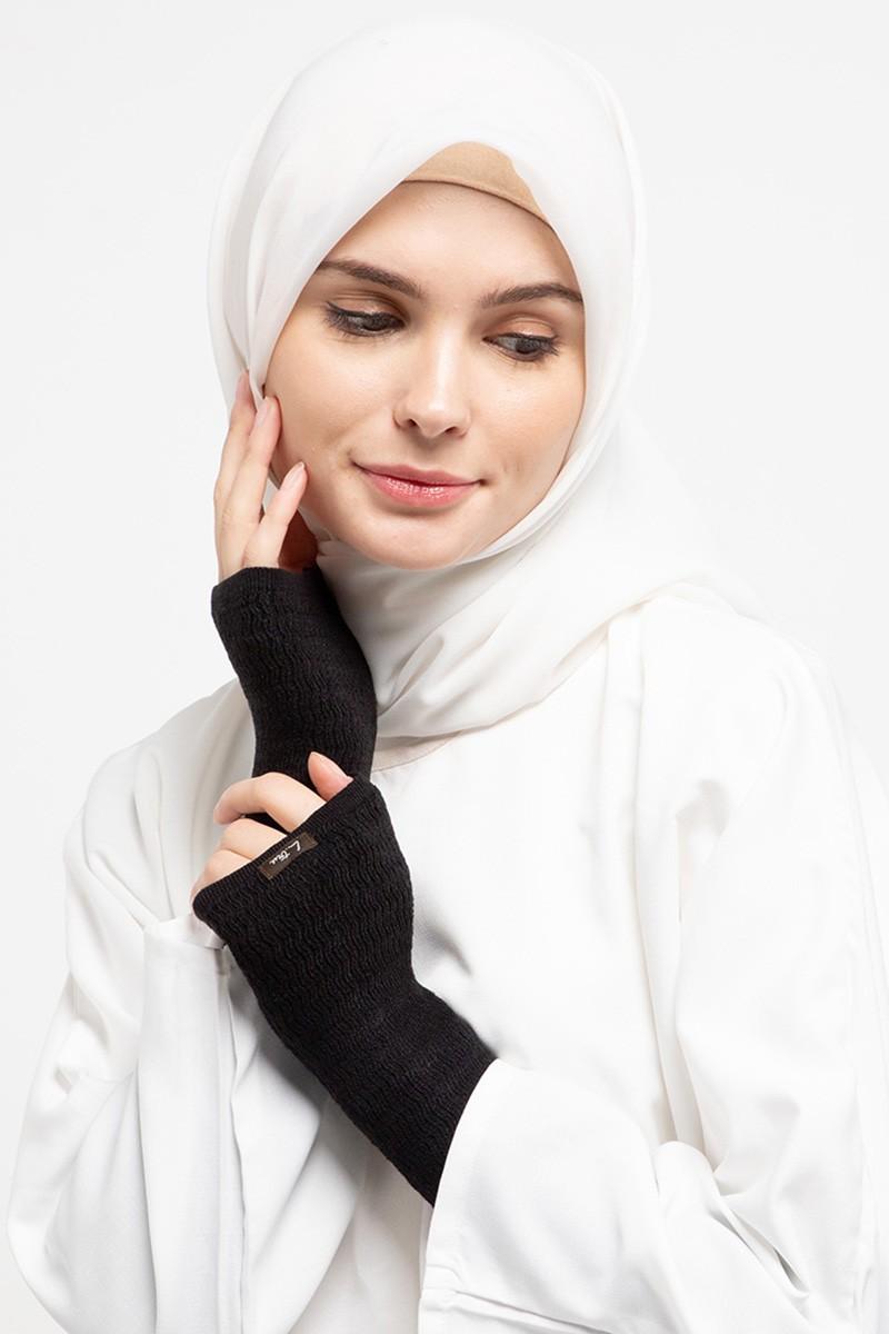 Long Handsocks Knitting Overset Black