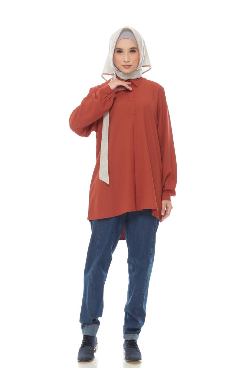 Nixon Shirt Plain Terracota 0952 0221