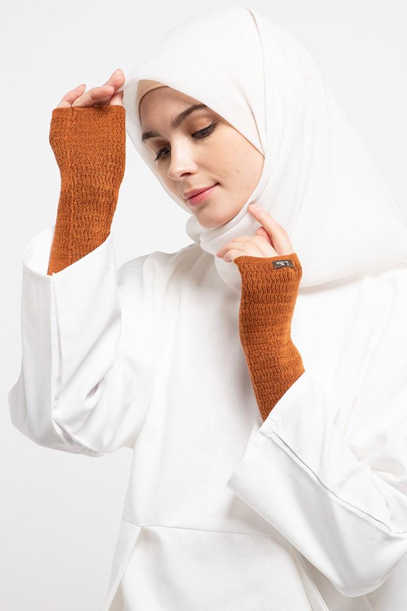 Long Handsocks Knitting Overset Terracota