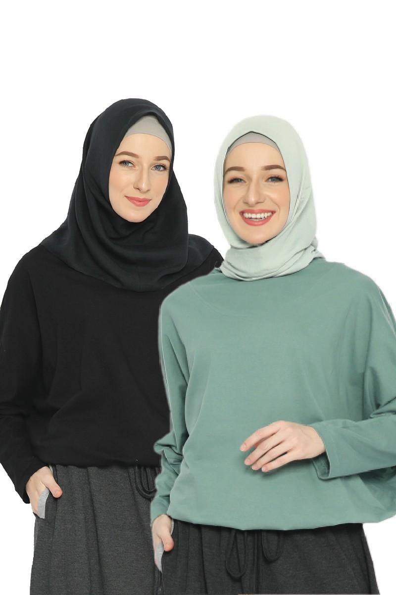 Lanai Blouse Bundling Set Black & Sea Green