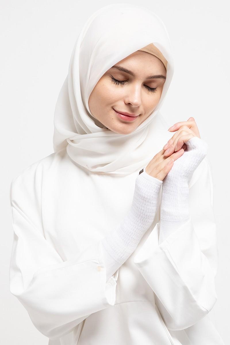 Long Handsocks Knitting Overset Off White