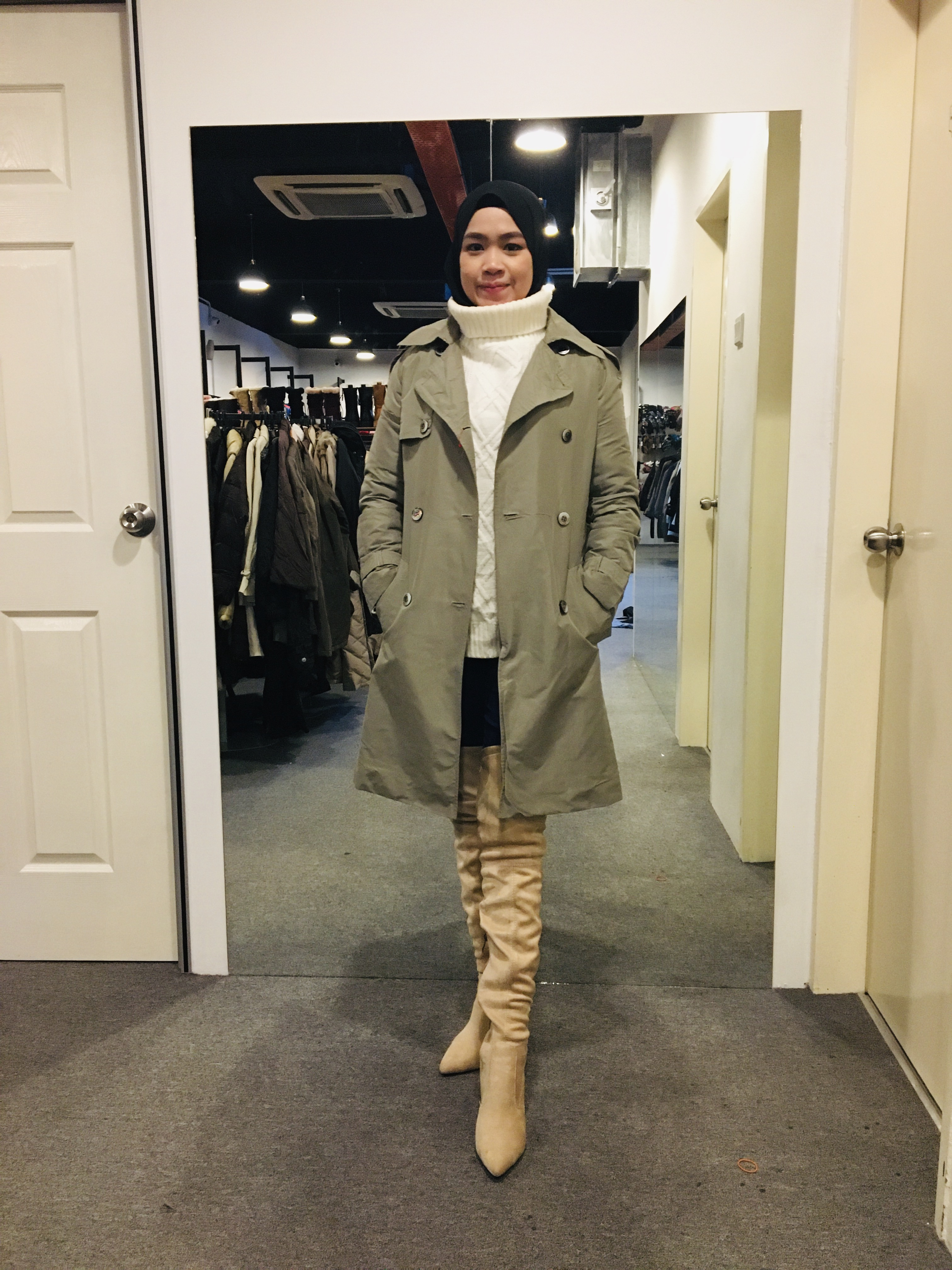 BJ1008 ARMY TRENCH COAT