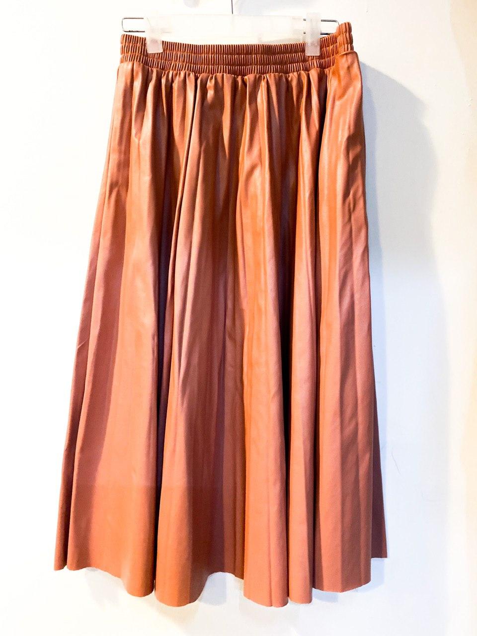 Women High-Waist Pleated Pu Leather Skirts Casual