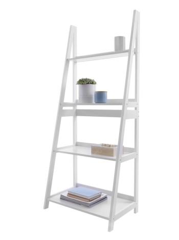 4 Tier Ladder Shelf White