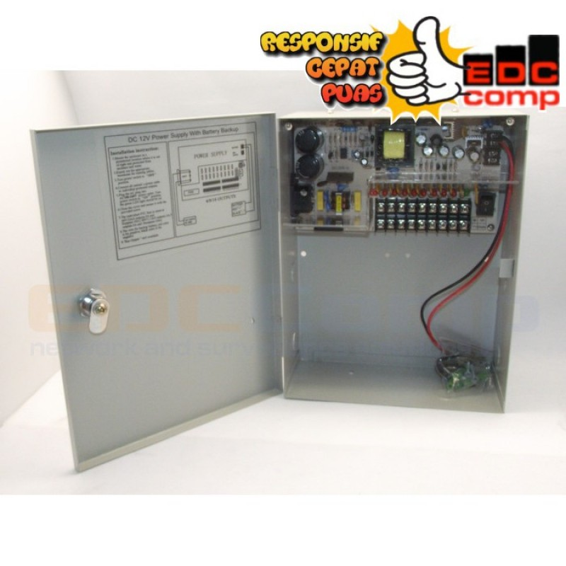 Switching Power Suply CCTV 12V 10A 8CH with Battery Backup