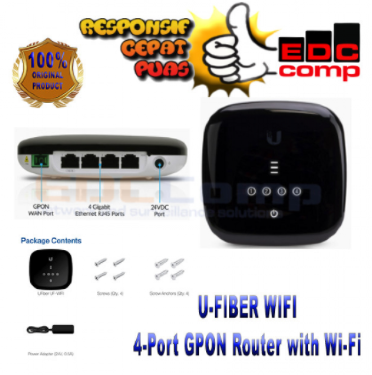 Ubiquiti UF-WIFI 4-Port GPON Router with Wi-Fi   UF-WiFi - EdcComp