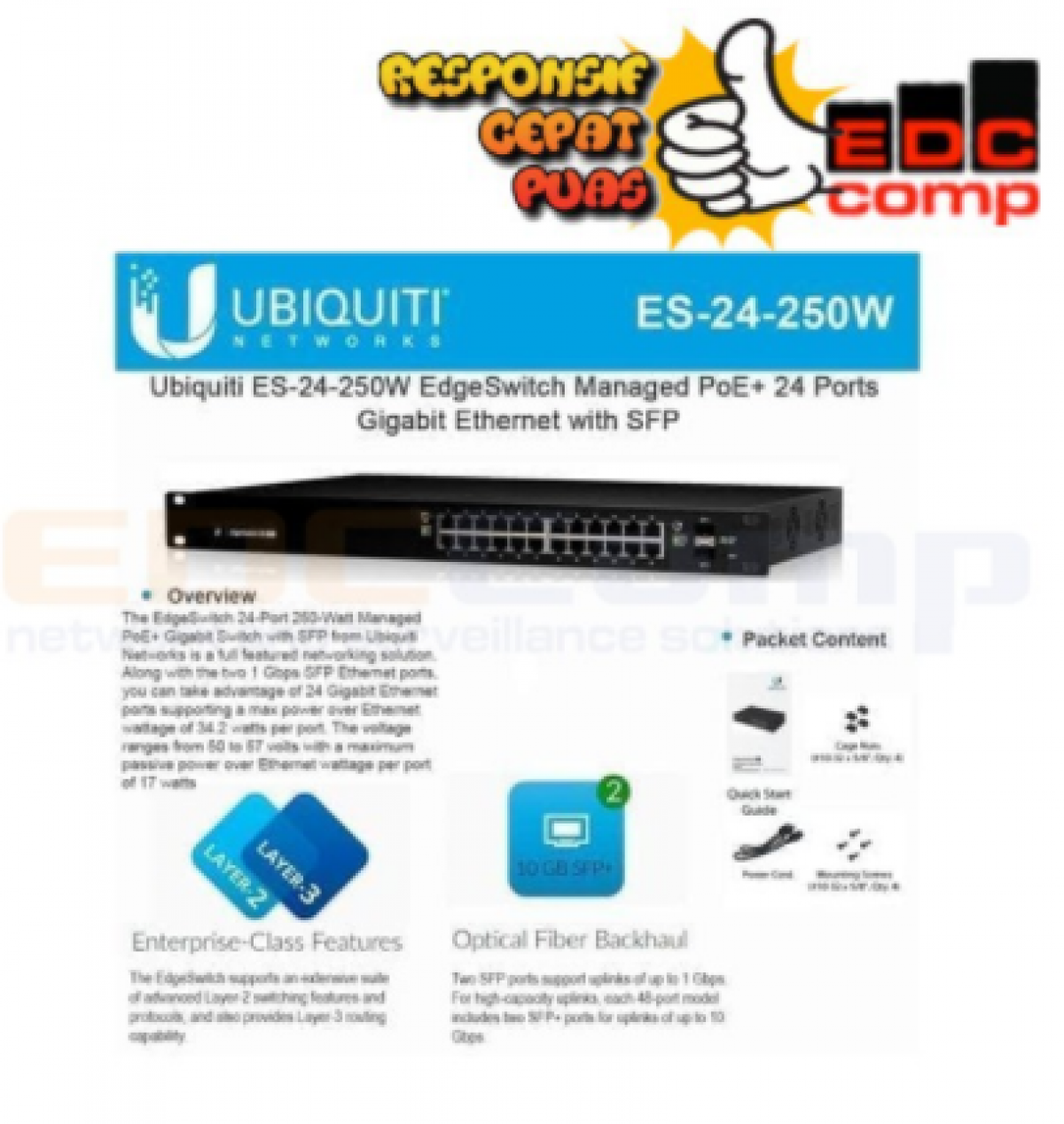 EdgeSwitch 24Port Gigabit Poe ES-24-250W - EdcComp
