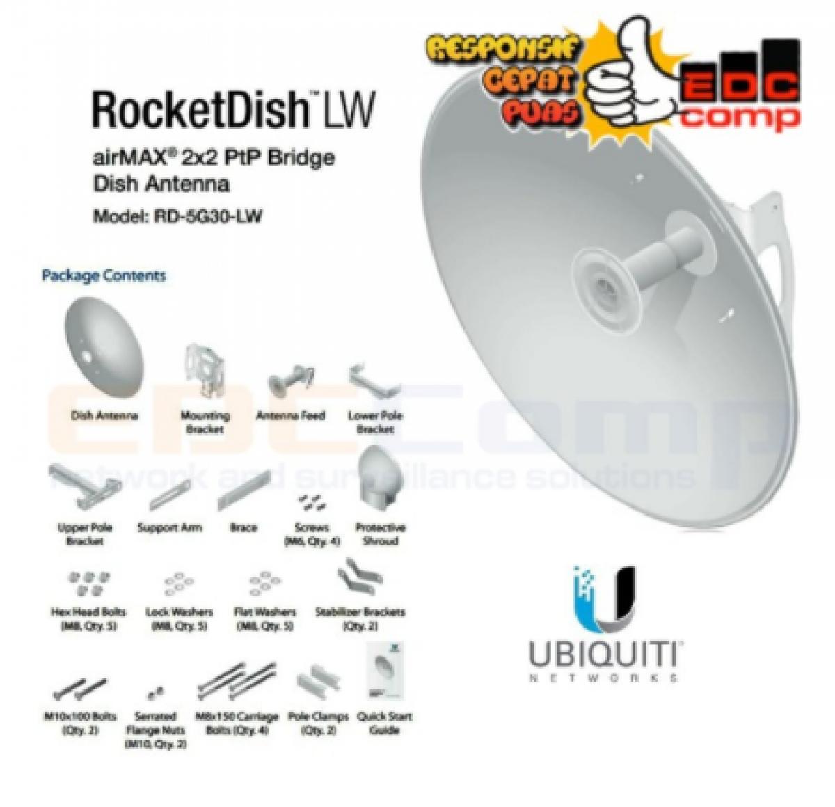 Ubiquiti Rocket Dish / RocketDish 5G 30dBi LW / RD-5G30-LW - EdcComp