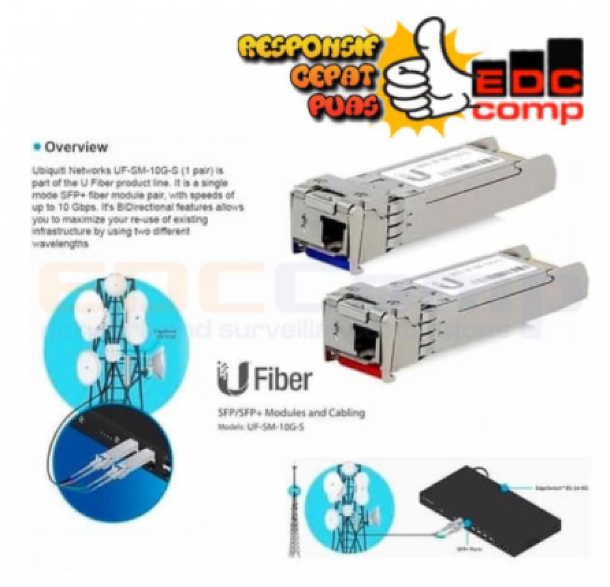 UBIQUITI UF-SM-10G-S Unifi Fiber Single Mode 10G SFP+ Module BiDi - EdcComp