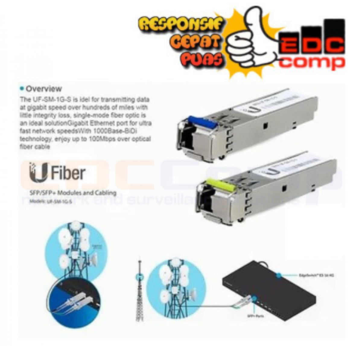UBIQUITI UF-SM-1G-S (B+Y) UFiber Single Mode 1Gbps BIDI SFP - EdcComp