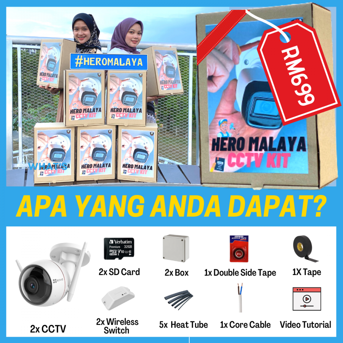 HERO MALAYA CCTV KIT BOX | 2 UNIT OUTDOOR WEATHER PROOF - Wireless CCTV