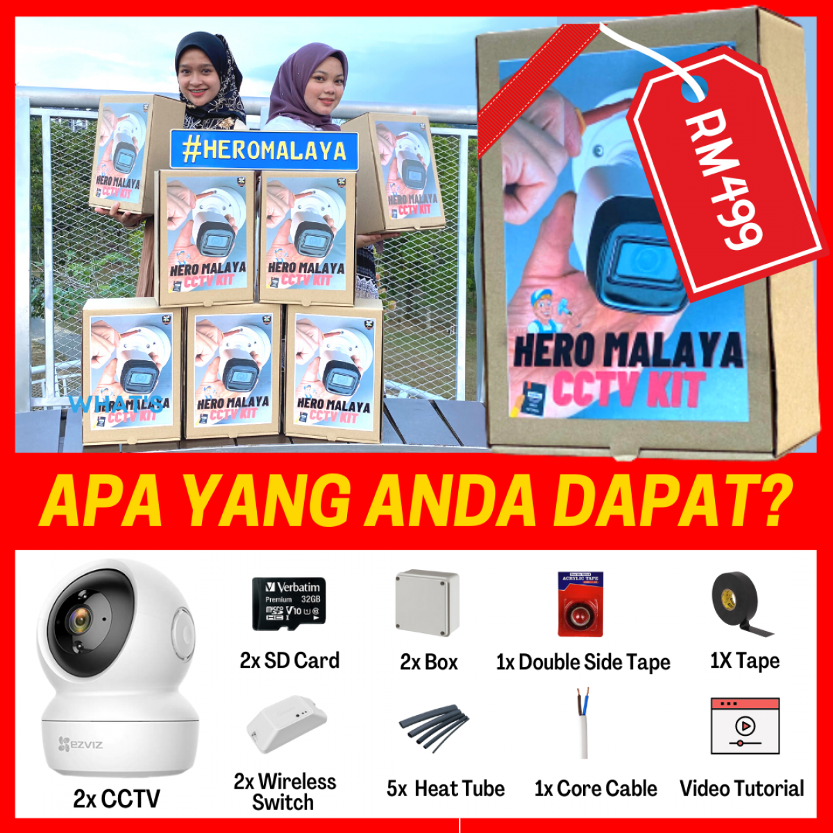 HERO MALAYA CCTV KIT BOX | Wireless CCTV HD Motion Tracking - Wireless CCTV