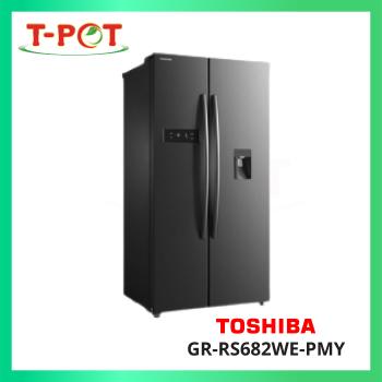 TOSHIBA 591L Side-By-Side Inverter Refrigerator GR-RS682WE-PMY