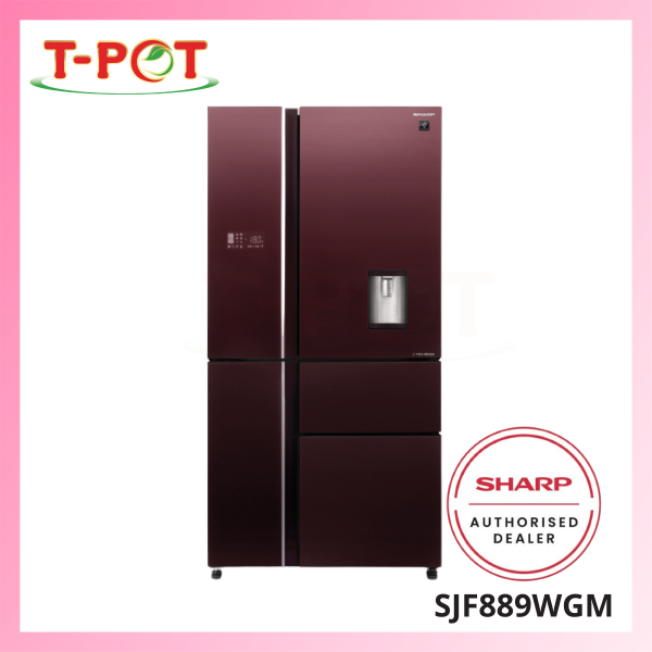 SHARP 780L French Door Refrigerator - SJF889WGM - T-Pot @ Kota Kemuning