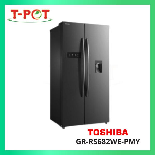 TOSHIBA 591L Side-By-Side Inverter Refrigerator GR-RS682WE-PMY - T-Pot @ Kota Kemuning