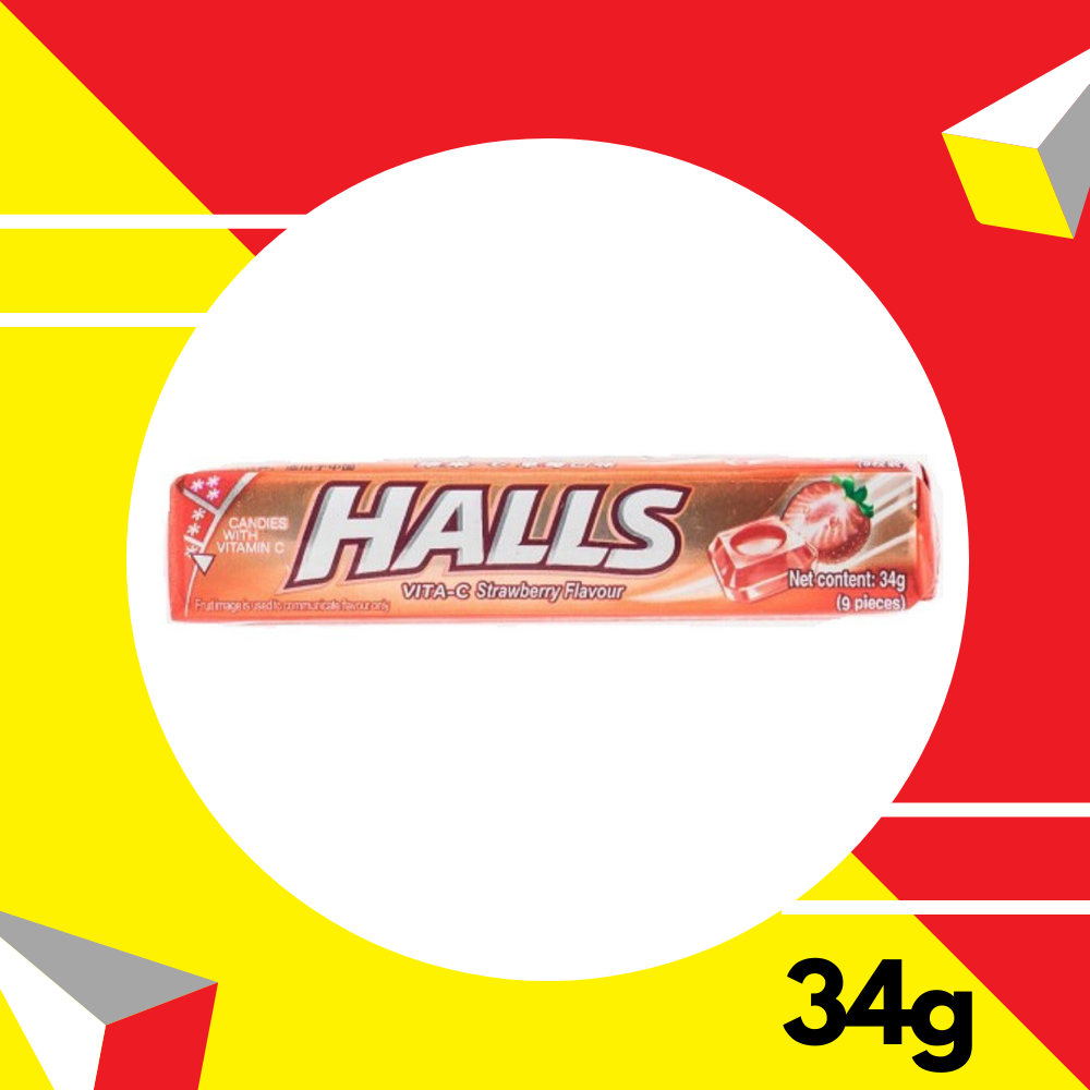 Halls Vita - C Strawberry 34gm