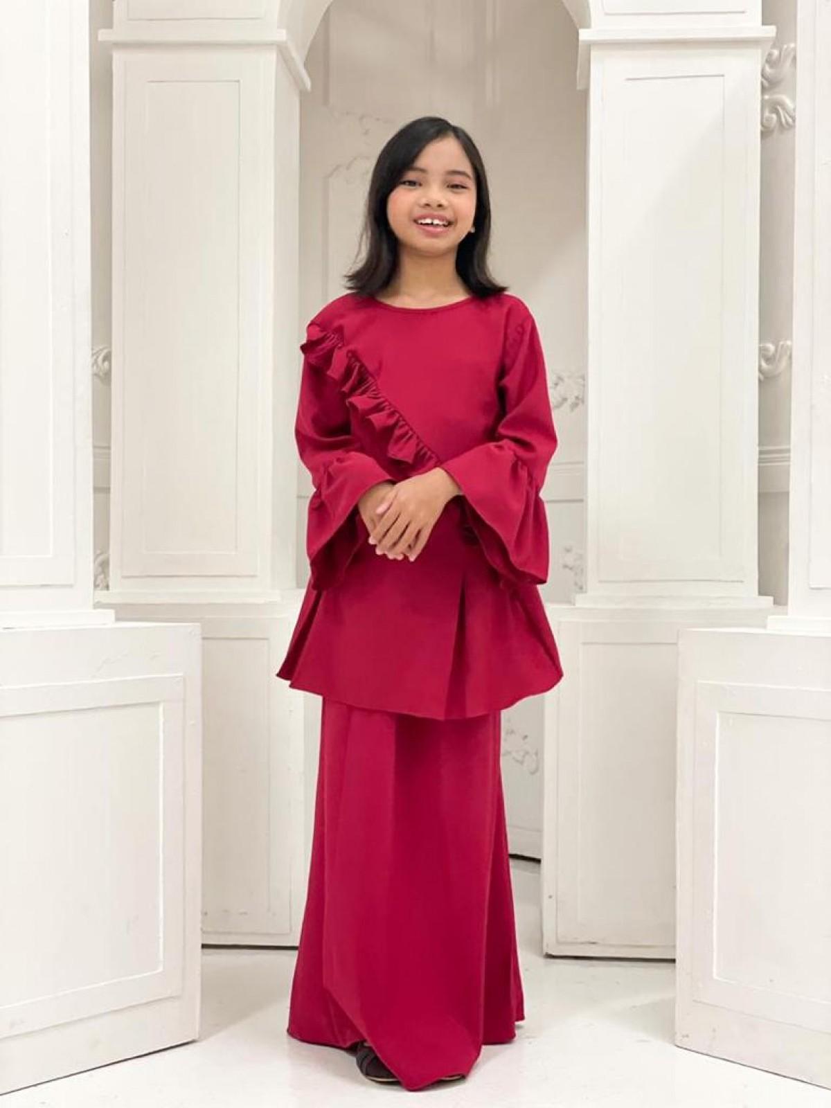 Ruffle Modern Kurung  - Red - Anggun Chitra