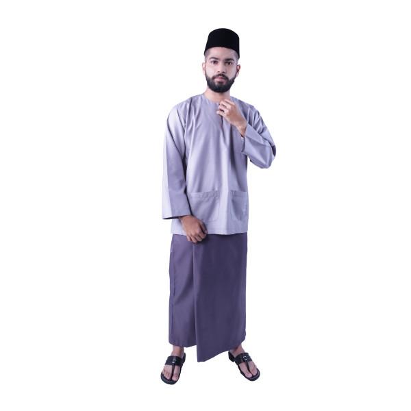 Baju Melayu Nusantara Khalif (Light Grey) - Mak Cun Mart