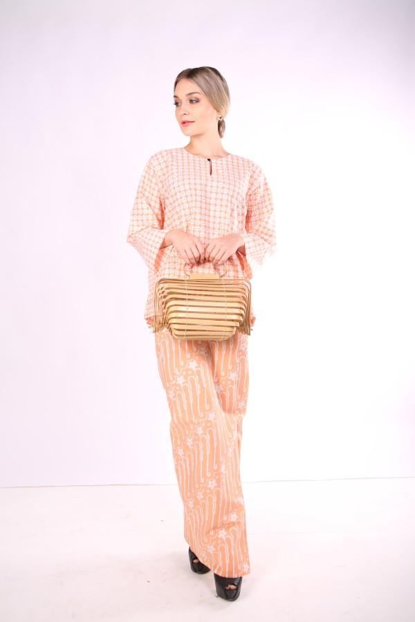 Kurung Kedah Full Batik Mak Cun (Light Orange) - Mak Cun Mart