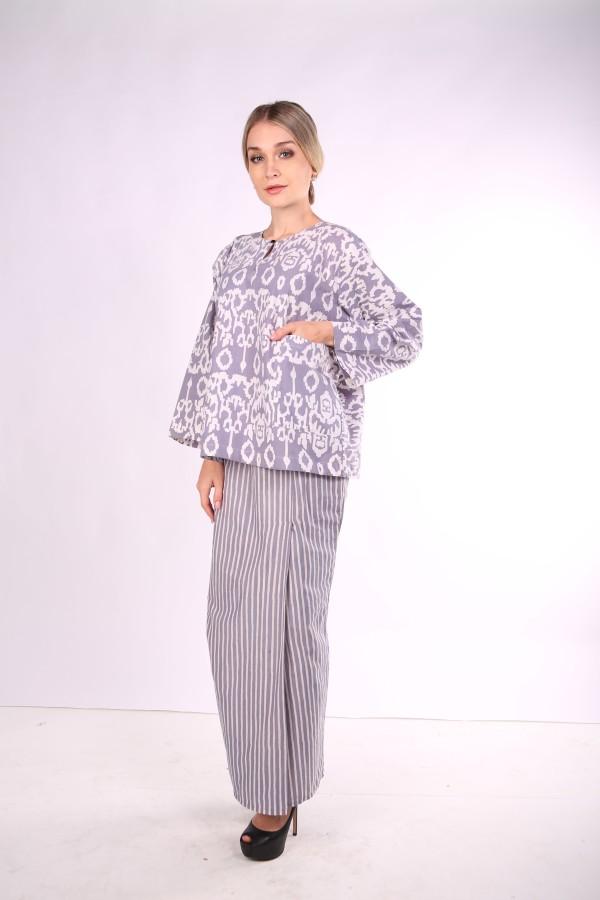 Kurung Kedah Full Batik Mak Cun (Grey belang) - Mak Cun Mart