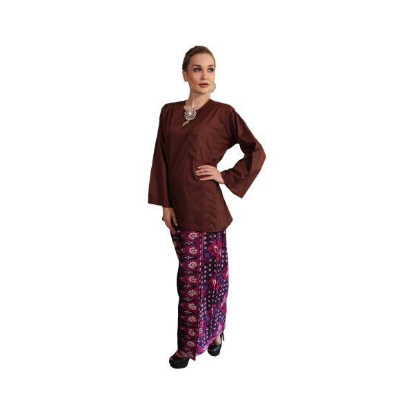 Kurung Kedah Kain Batik Mak Cun (Dark Brown) - Mak Cun Mart