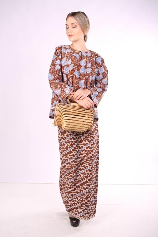 Kurung Kedah Full Batik Mak Cun (Brown/daun) - Mak Cun Mart