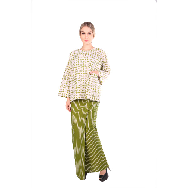 Kurung Kedah Full Batik Mak Cun (Lime Green/Jalur) - Mak Cun Mart