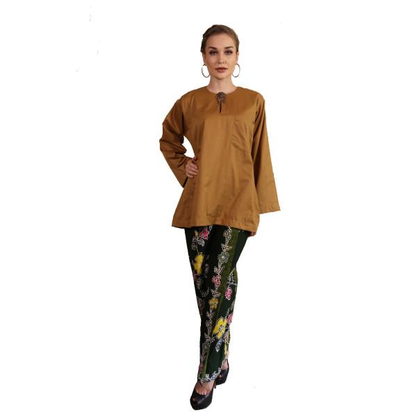 Kurung Kedah Kain Batik Mak Cun (Mustard) - Mak Cun Mart