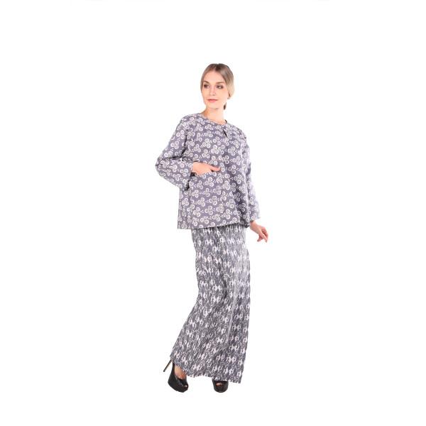 Kurung kedah Full Batik Mak Cun (Grey/Bunga) - Mak Cun Mart
