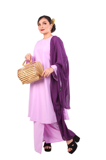 Kurung Tanjung Mak Cun + Selendang (Purple) - Mak Cun Mart