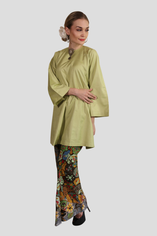 Kurung Manja Mak Cun (Lime Green) - Mak Cun Mart