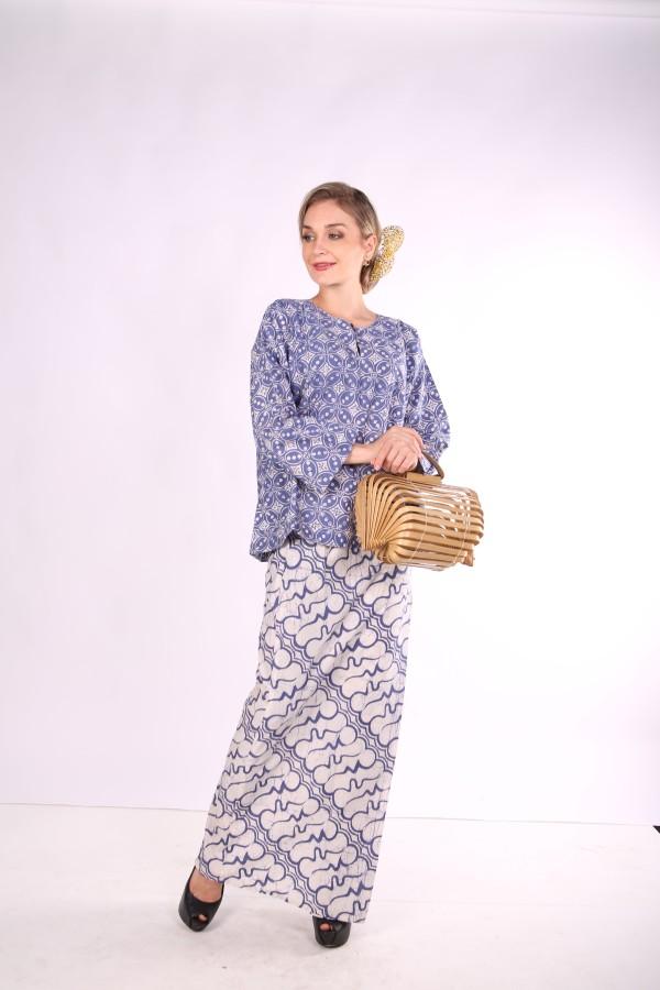 Kurung Kedah Full Batik Mak Cun (Blue) - Mak Cun Mart