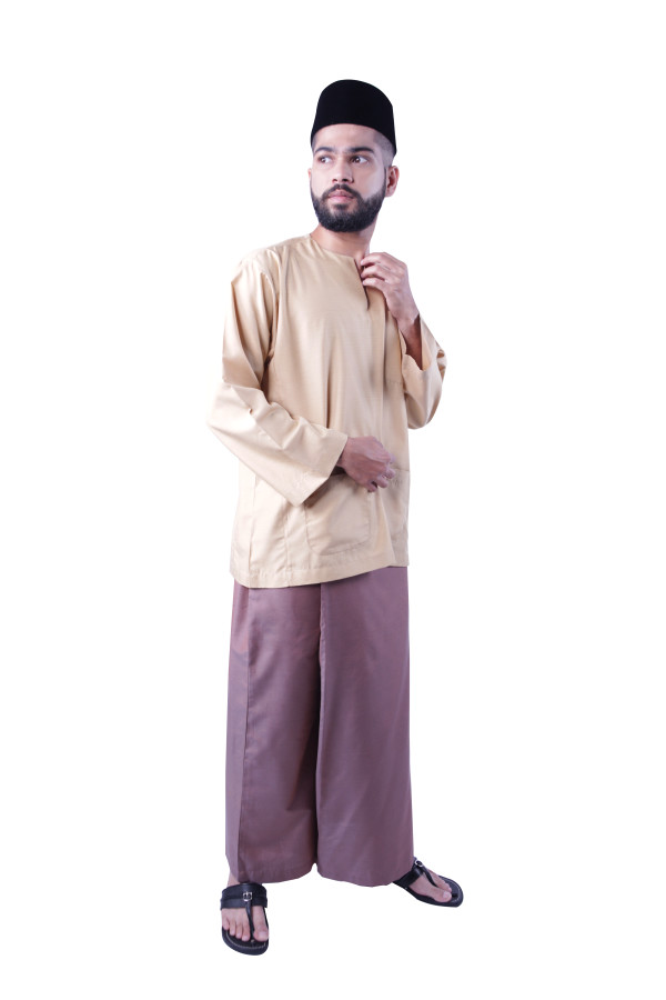 Baju Melayu Nusantara Khalif (Light Brown) - Mak Cun Mart