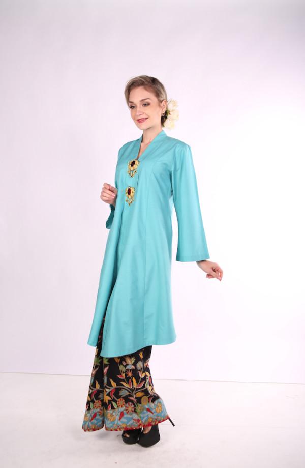 Kebarung Ayu Batik Mak Cun (Turquoise) - Mak Cun Mart